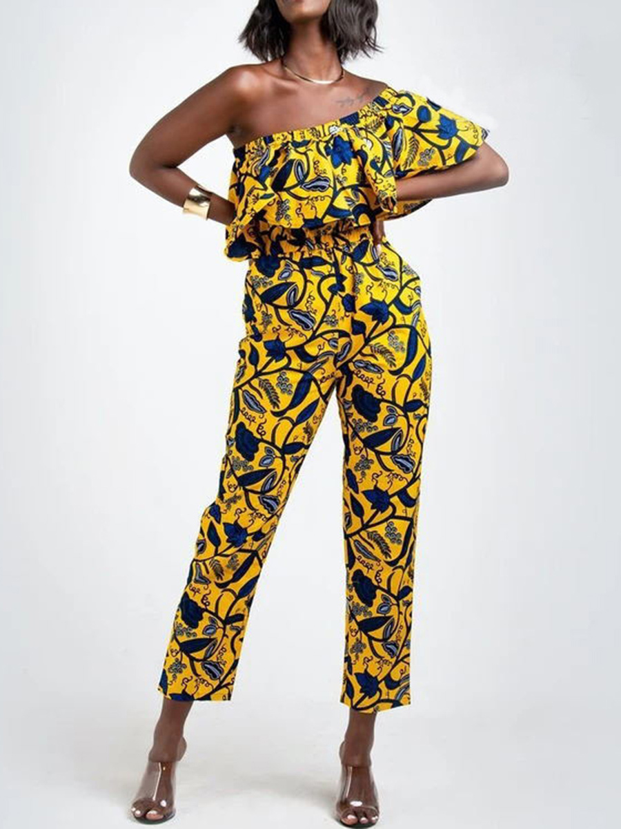 African-inspired print yellow jumpsuit by Feelingdress