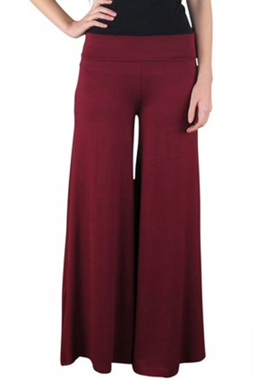 Red Palazzo Pants Wide Leg Solid Color For Lounging
