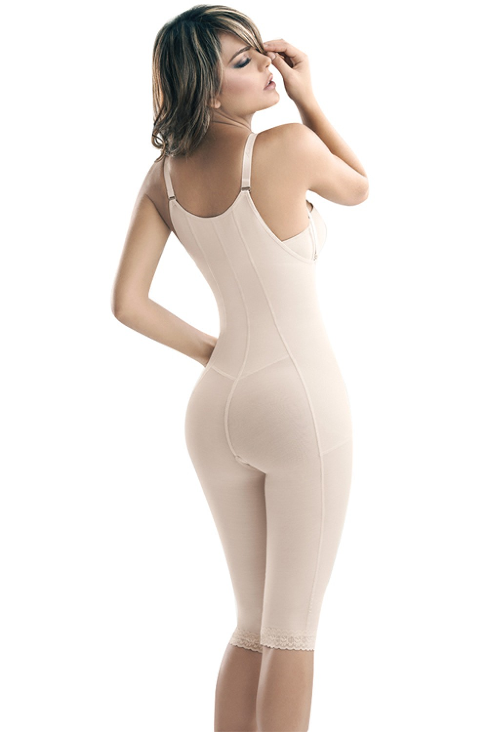 Nude Adjustable Straps Body Shaper With Long Pants Open Bust