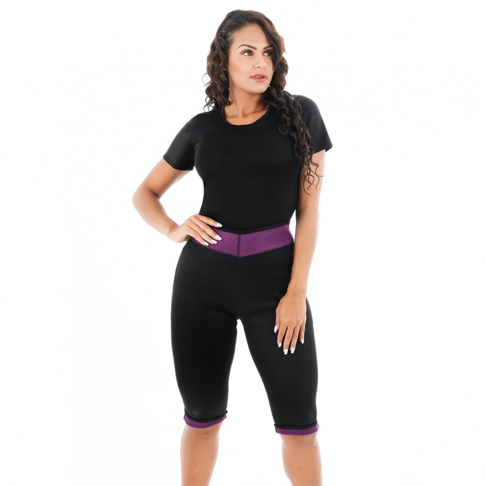 Reversible Full Size Short Sleeve Shapewear Two Pieces For Training