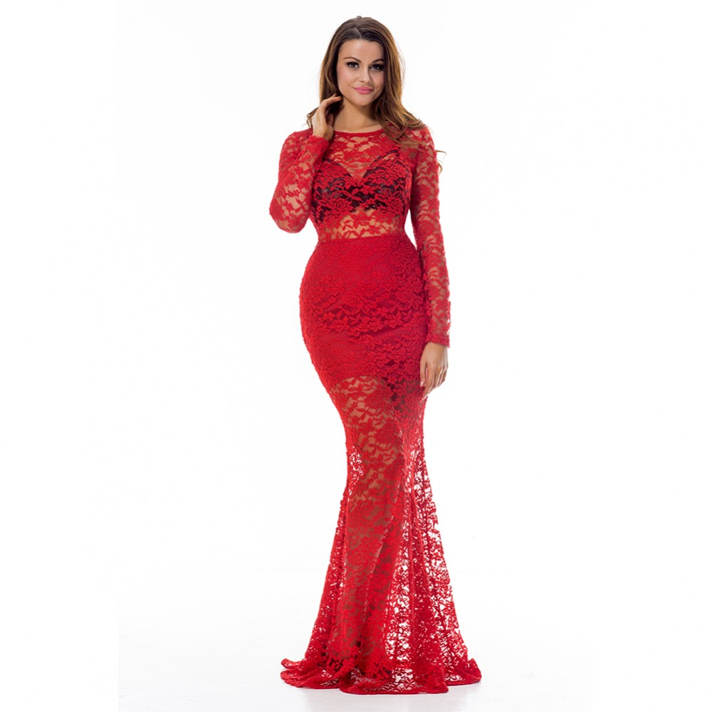 Fabulous Lace Red Long Sleeve Evening Dress Lace Up