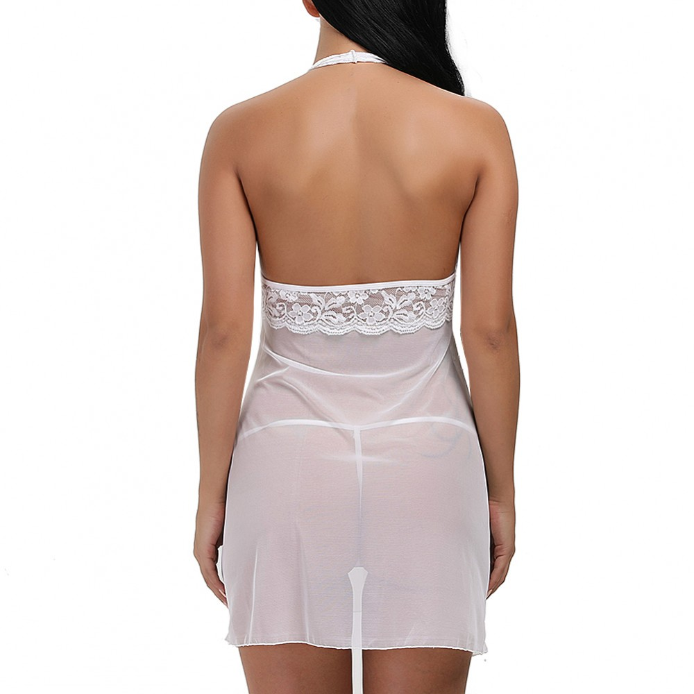 Tempting White High Cup Lace Babydoll Low Back