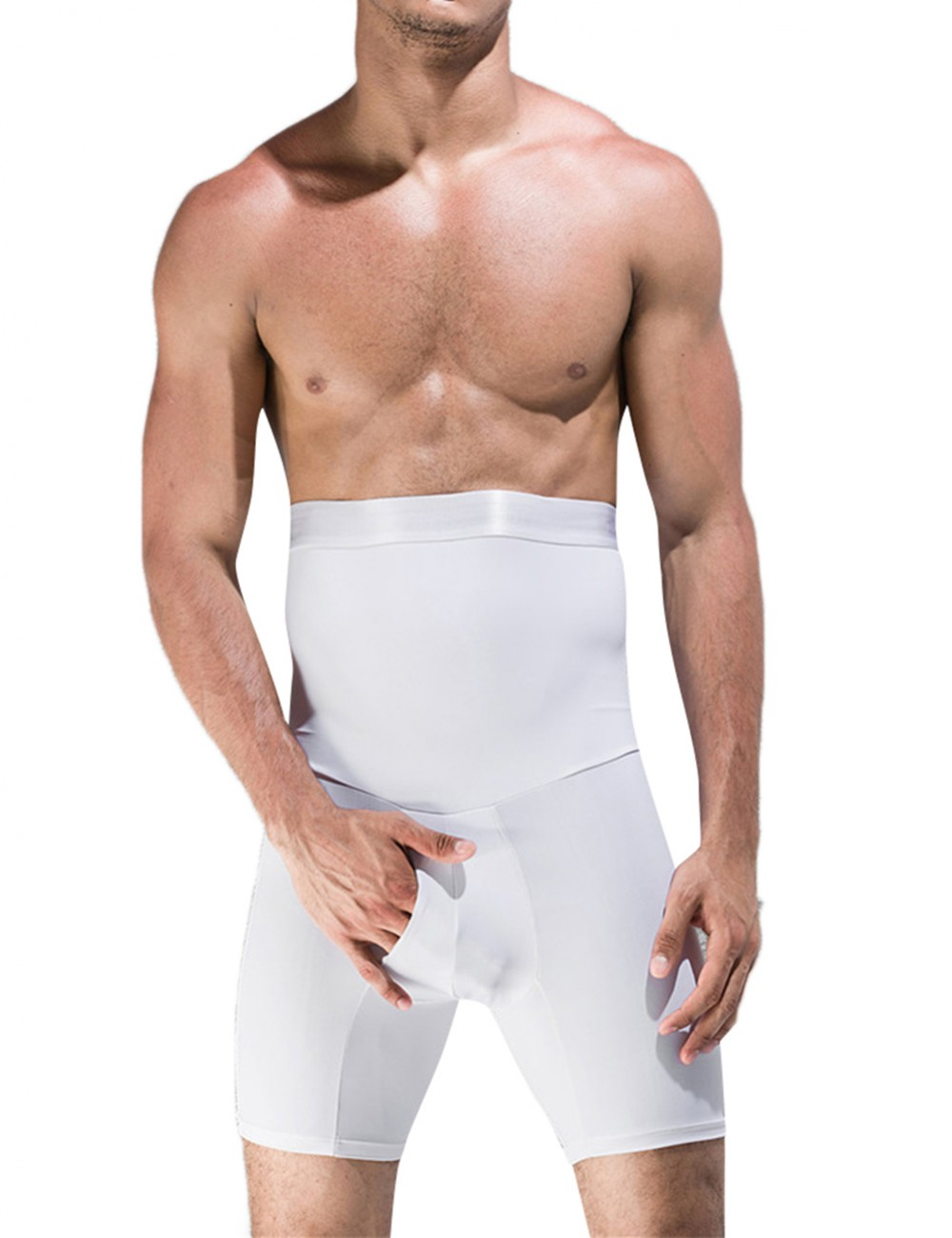 White Men High Waisted Tummy Control Shorts Not Slide Firm Compression