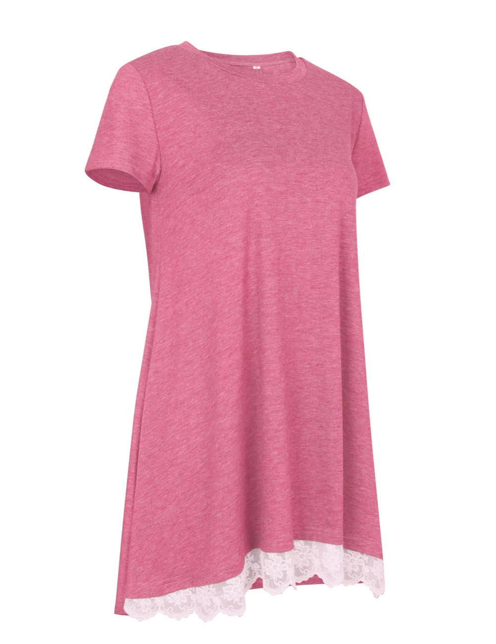Bright Pink Tunic Shirts Lace Swing Round Neck  For Every Occasion