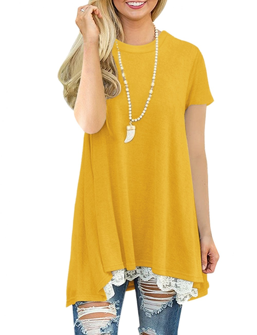 Explorer Yellow Pullover O Neck Top Lace Stitching Super Fashion