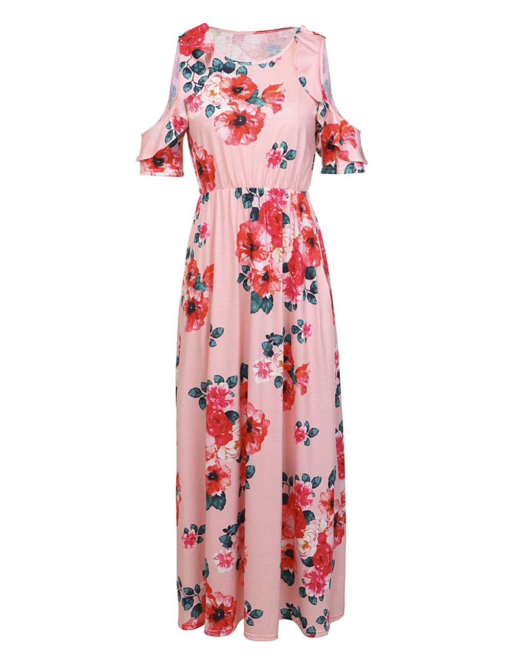 Ruffle Cold Shoulder Dress Smooth Maxi Length Women Fashion Style