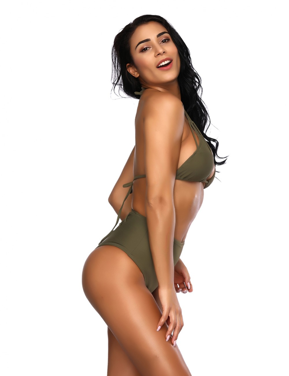 Well-Suited Green Crossover Halter Neck Bikini Open Back Latest Trends