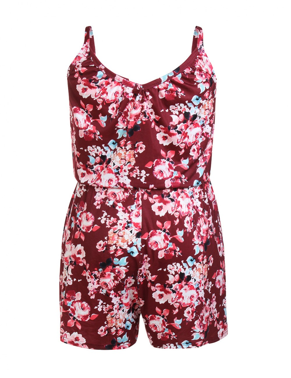 Inviting Wine Red Queen Size Jumpsuit Flower Print Glamor Women