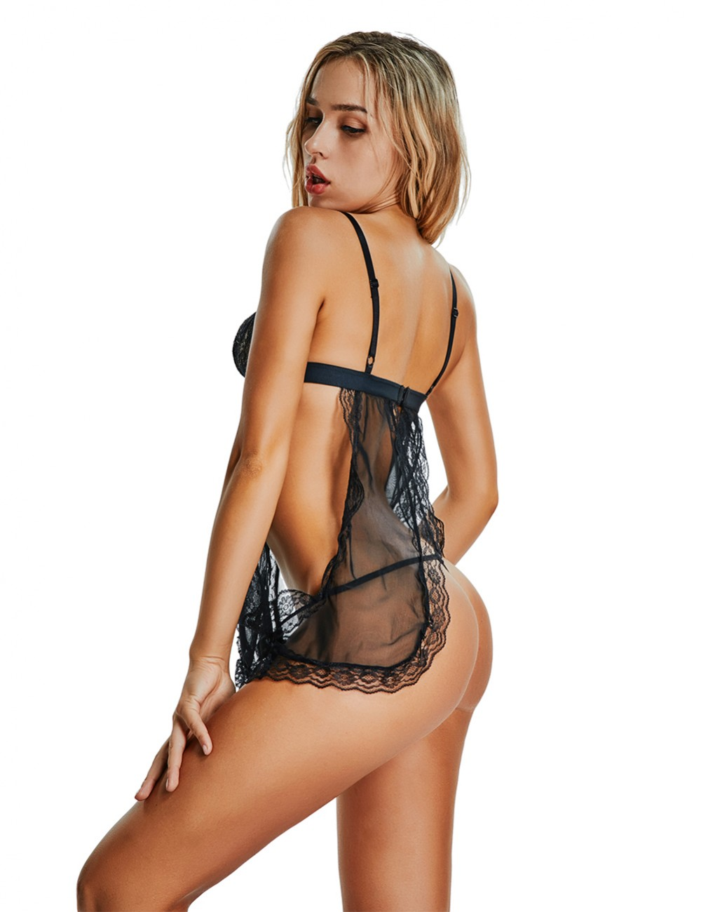 Expensive Black Backless Babydoll Lingerie Set Hollow Out Inexpensive Online