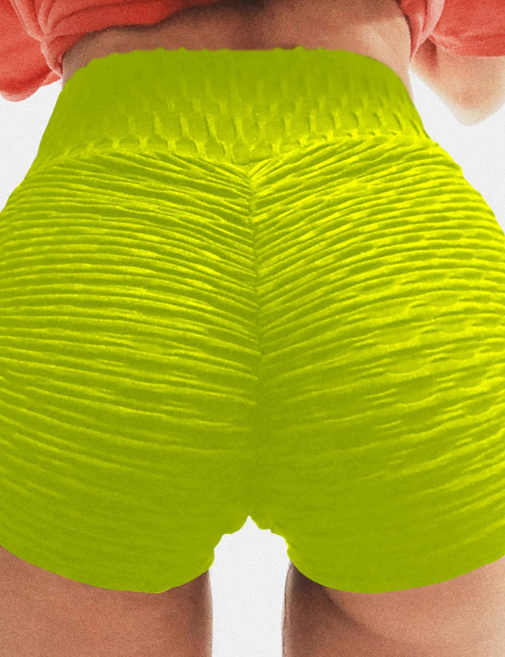 Yellow Buttock Enhancing Sport Shorts With Drawstring