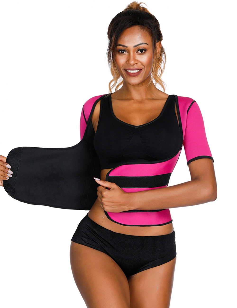 Stretch Rose Red Queen Size Neoprene Shaper Short Sleeves Firm Control