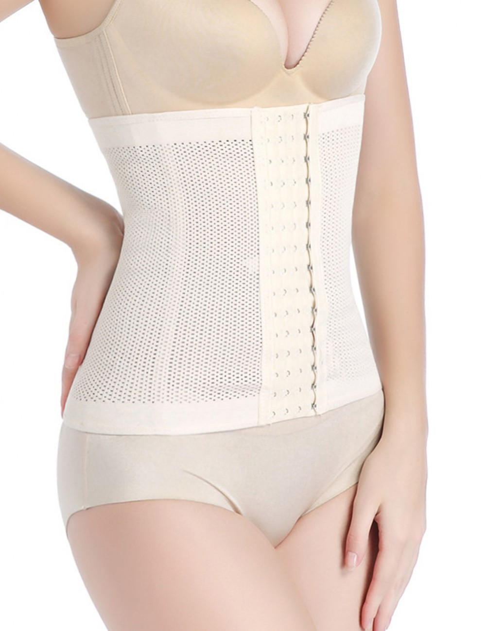 Nude Waist And TummyTrainer 4 Rows Of Hooks Queen Size Slimming Belly