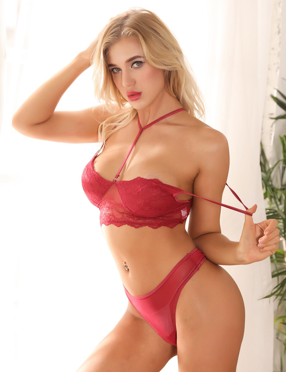 Versatile Wine Red Floral Lace Bra Suits Strappy Neck Spring Desires