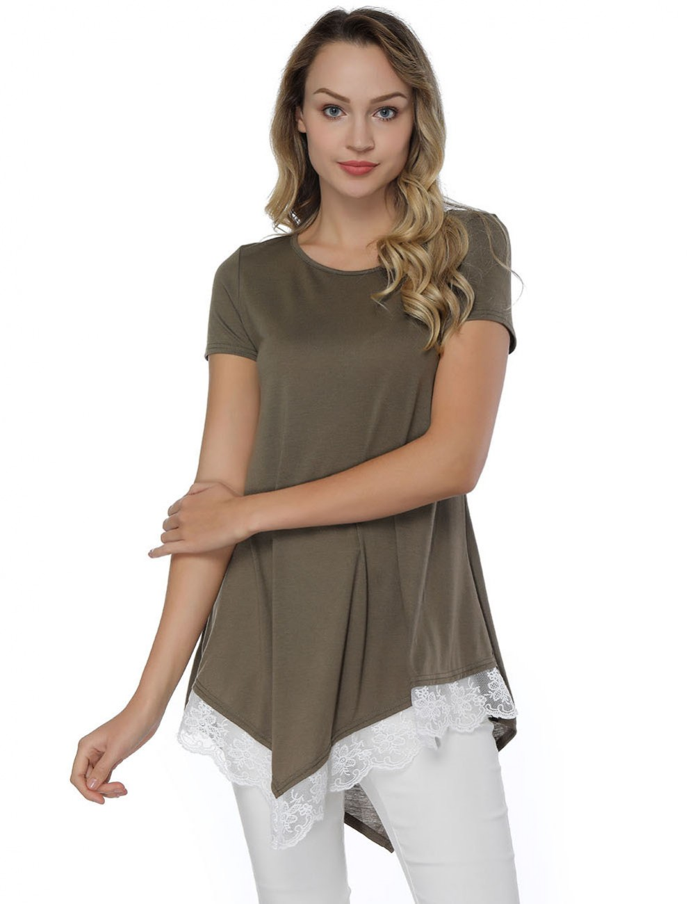 Perfectly Army Green Lace Patchwork Asymmetry Blouse
