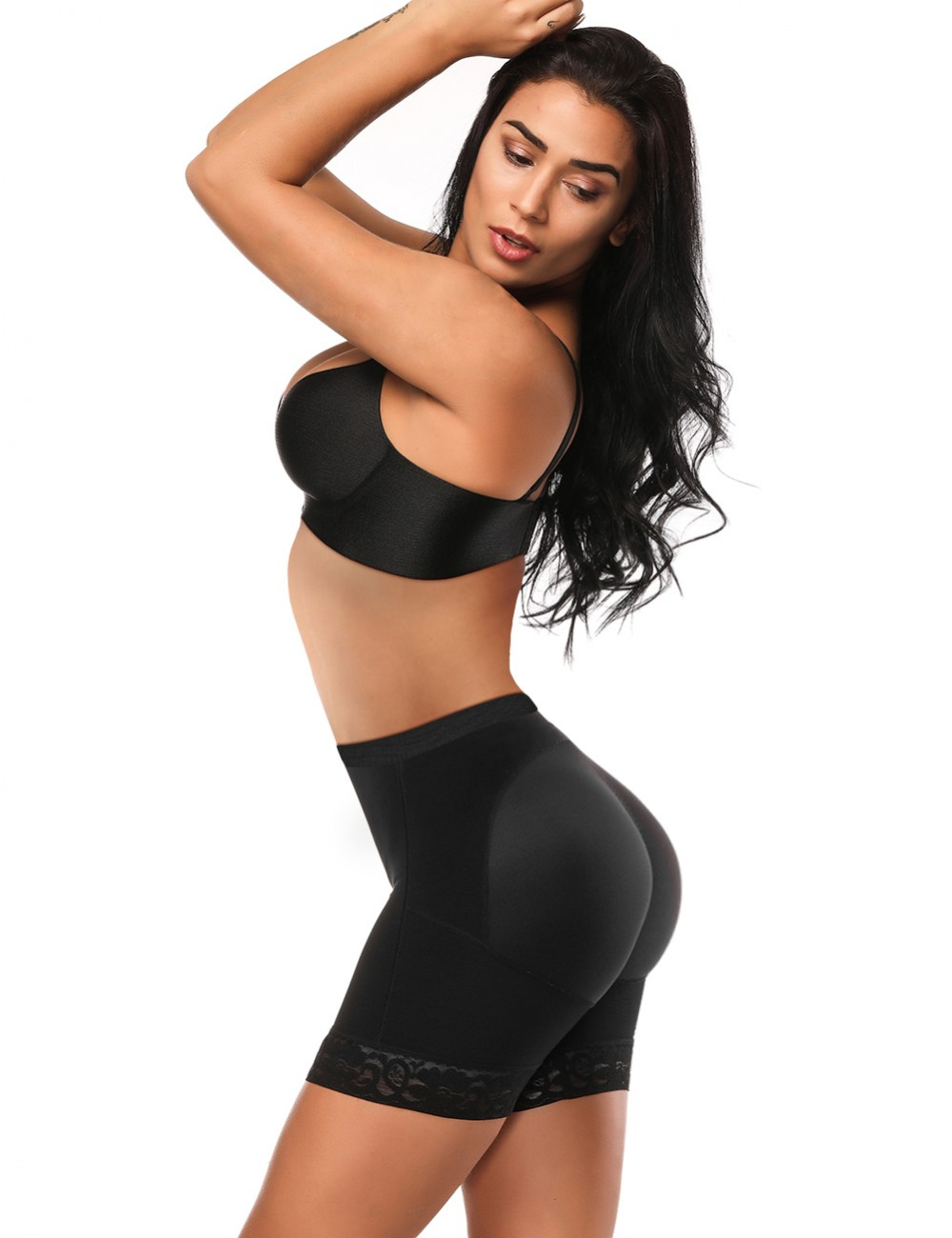 Black Large Size Booty Booster Underwear Lace Hem High-Compression