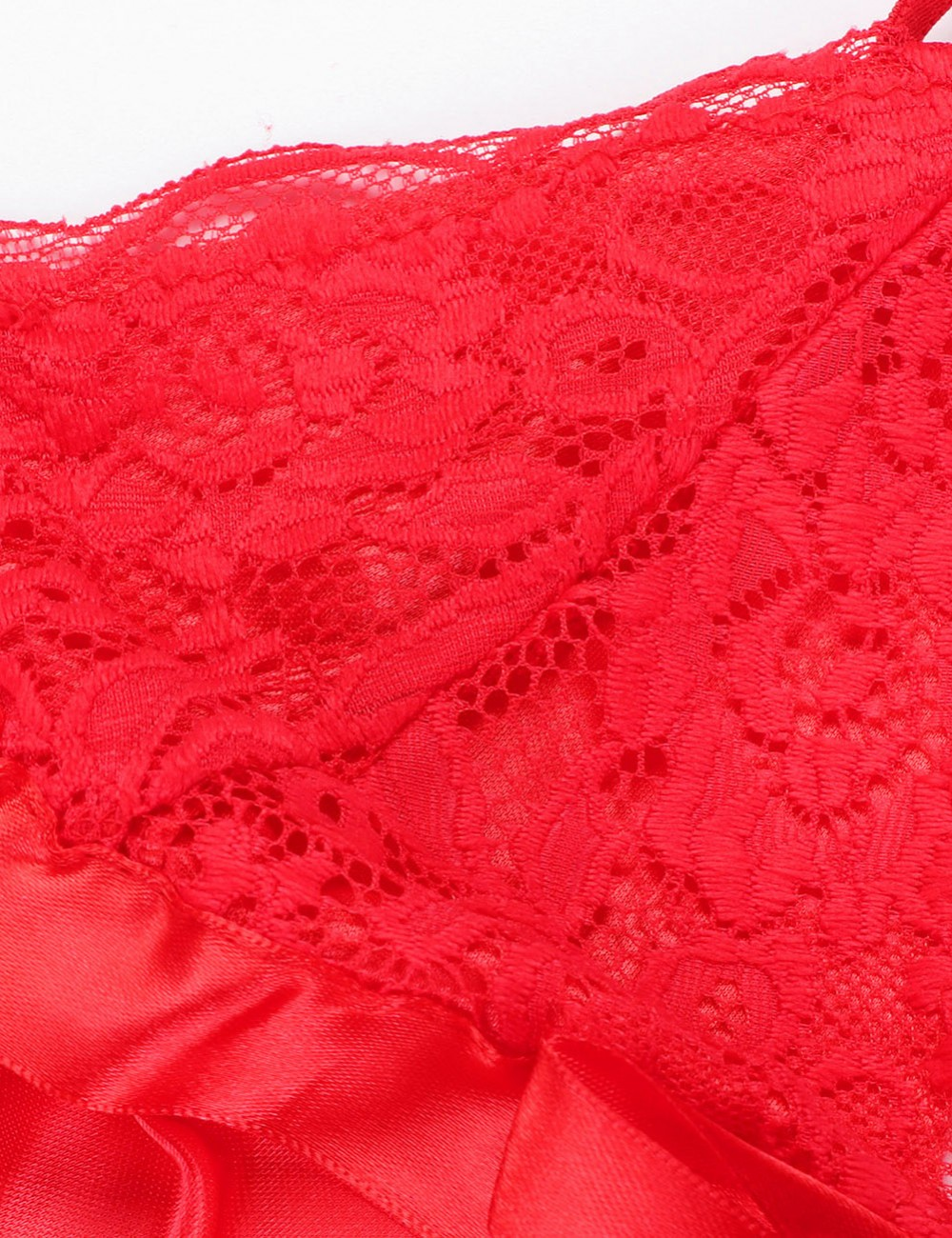 Simplicity Red Chemises Lace Bow Plus Size Spaghetti Strap Fashion Online For Lady