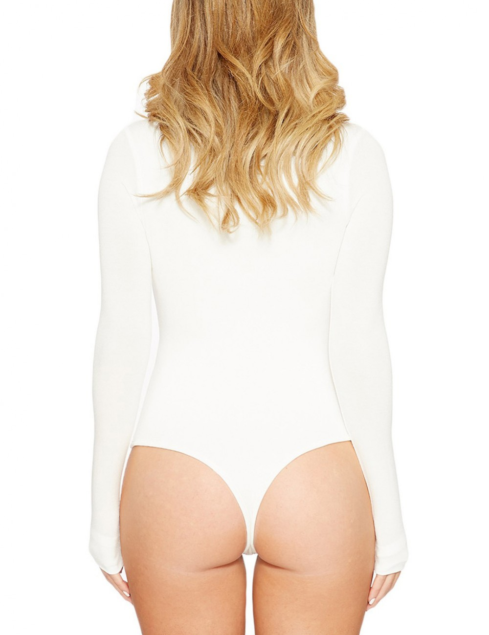 Stretch White Pure Color Bodysuit Long Sleeved Large Size At Great Prices