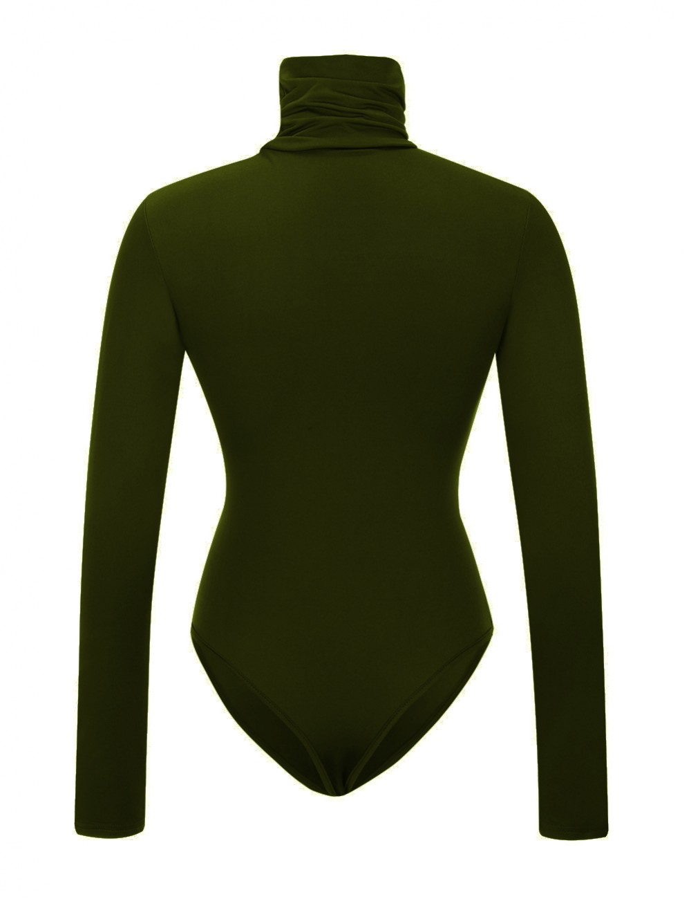 Fabulously Army Green Bodysuit Long Sleeved Solid Color Button All-Match Style