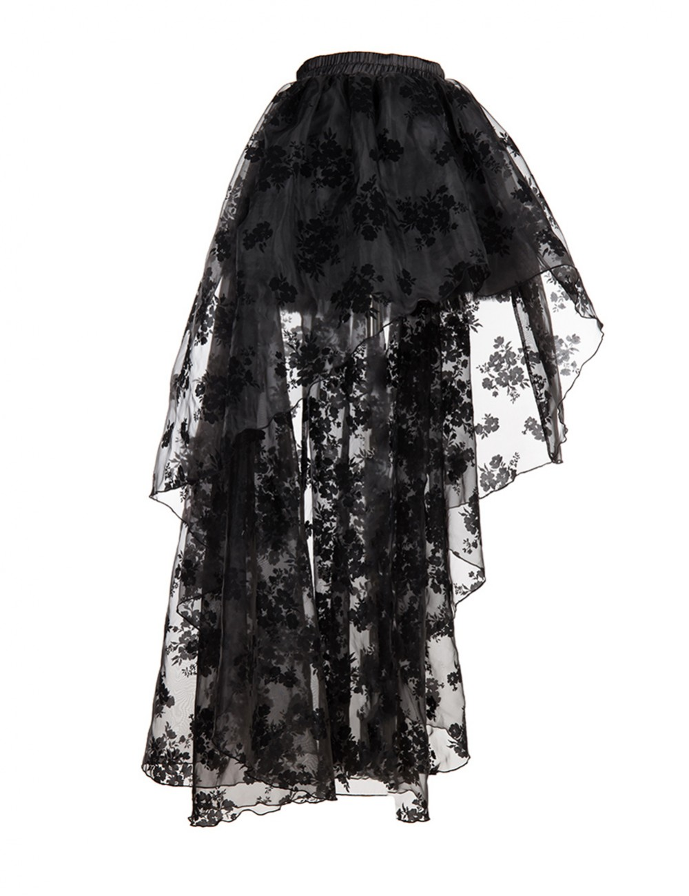 Hourglass Silhouette Floral Lace Mesh Black Corset Skirt Sets