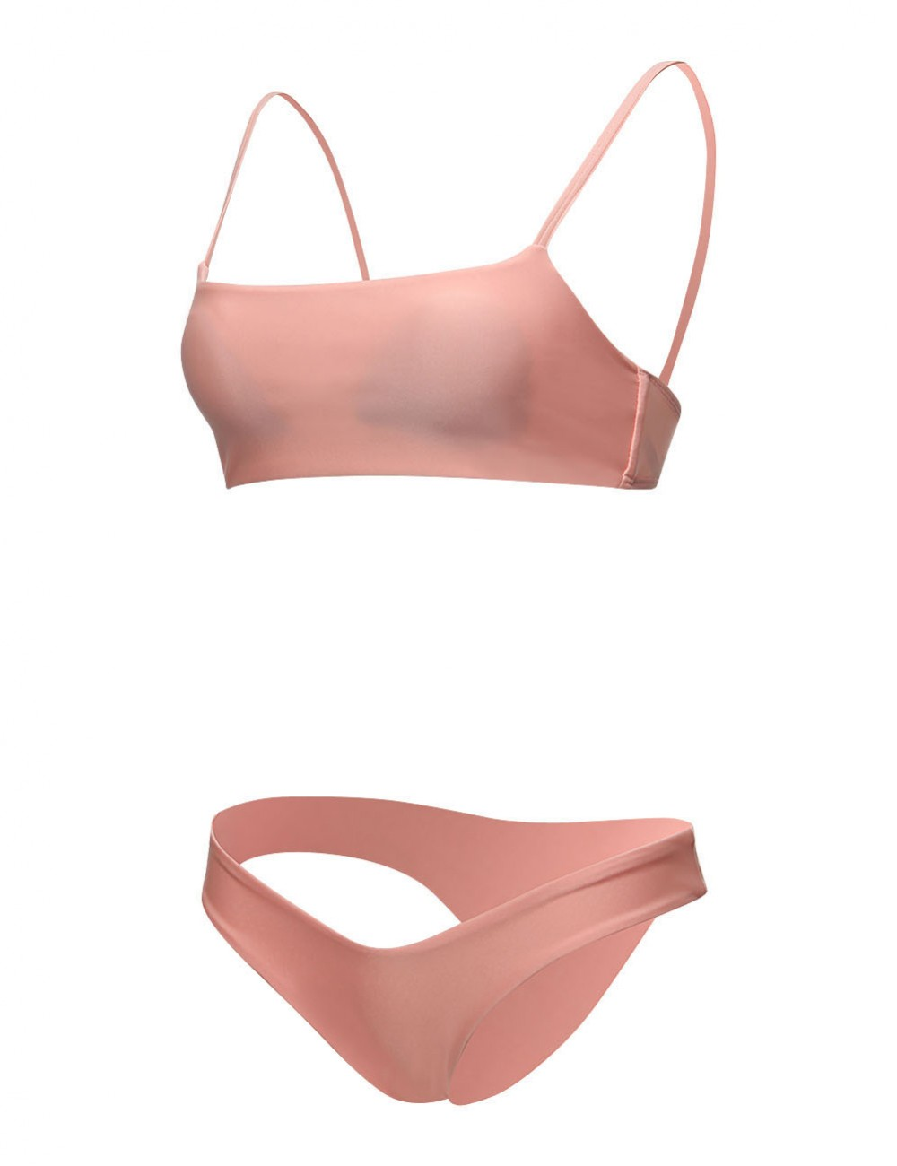 Pink Padded Shoulder Straps Swimsuit Mid-Rise Panty Female