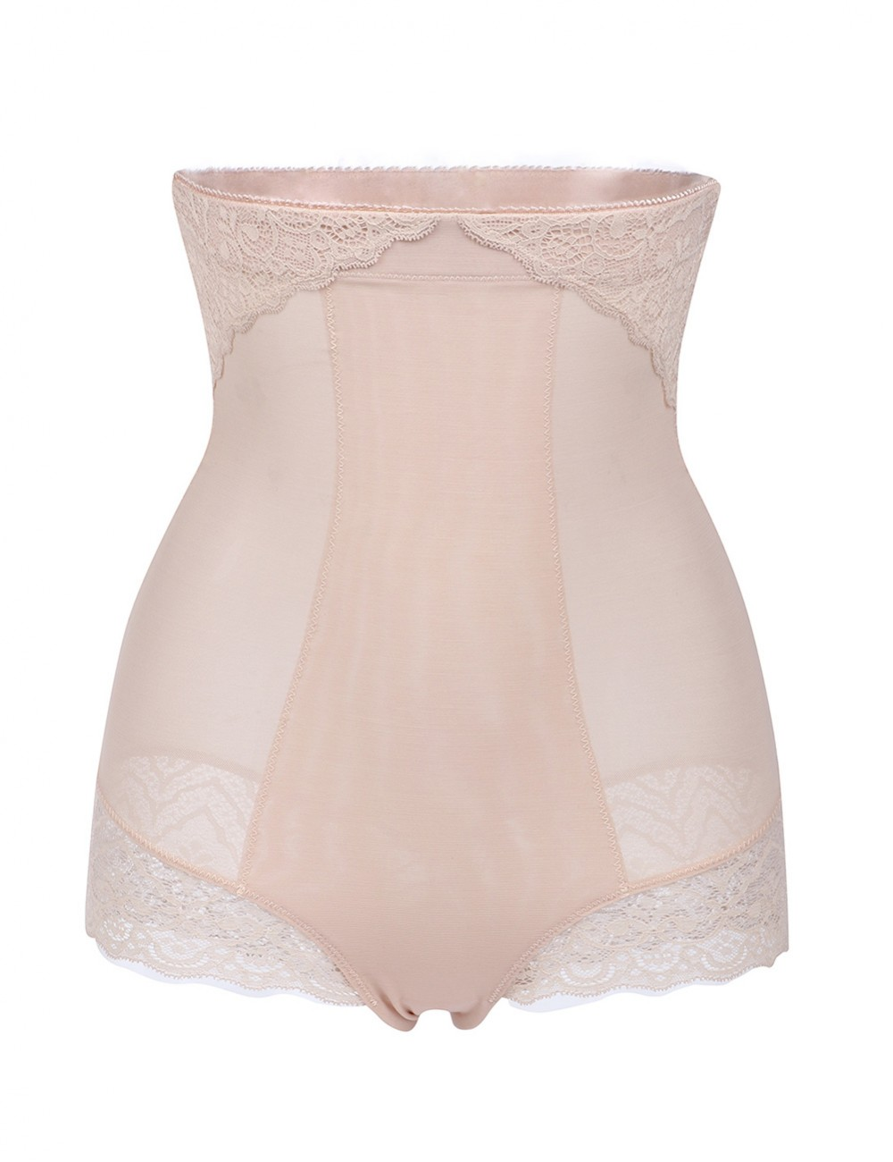 Nude Lace Patchwork High Waist Butt Lifter Big Size Posture Correct