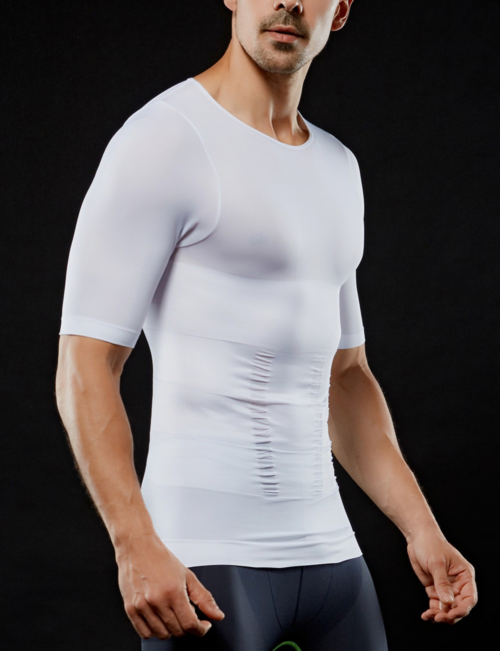 Tummy Control White 2 Layers Threaded Cuff Men's Top Slimmer Affordable