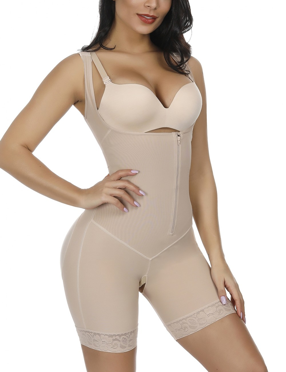 Nude Crotchless Zipper Hooks Body Shaper Plus Size Slimming Stomach