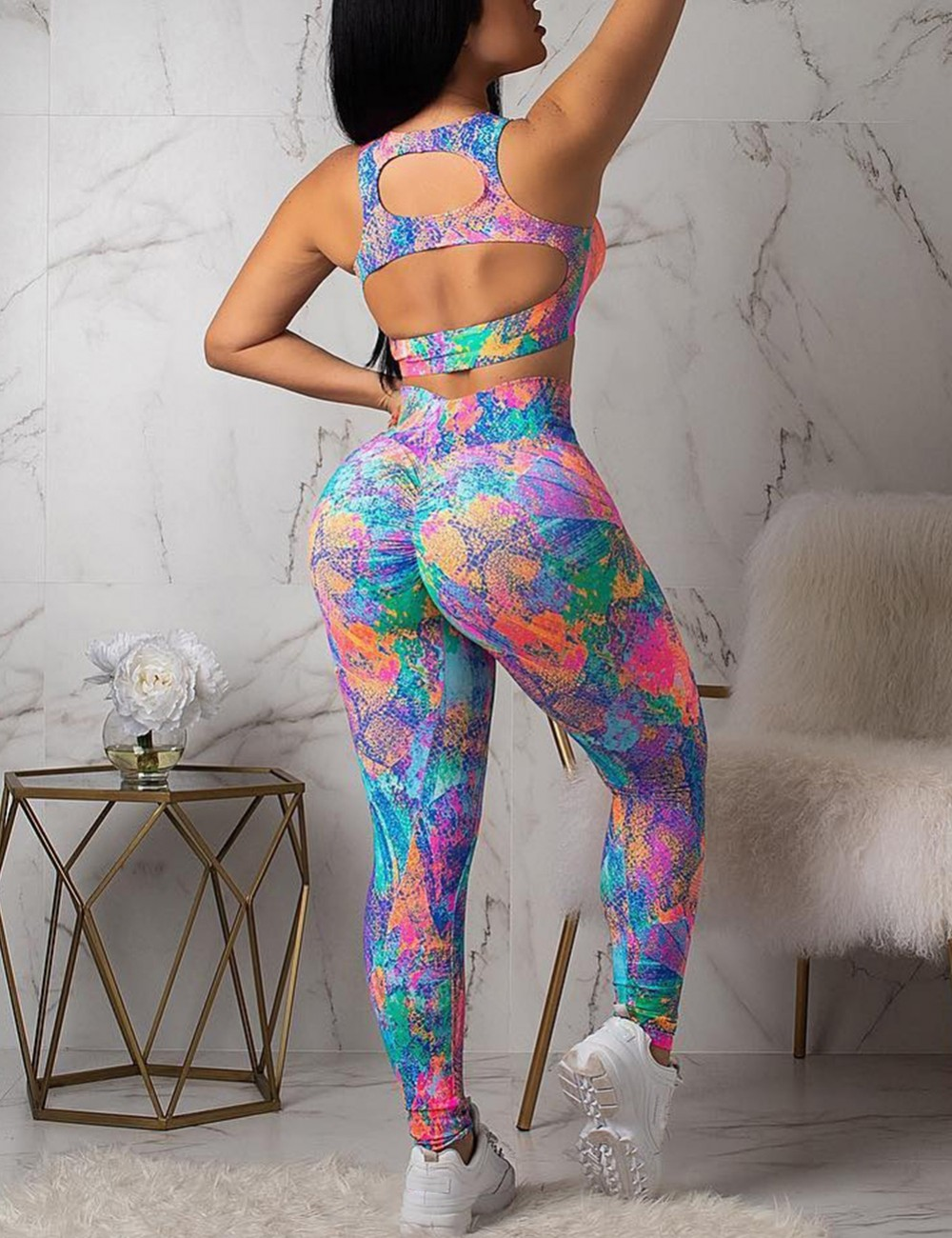 Tie-Dyes Backless Cut Out Yoga Set Trend For Women