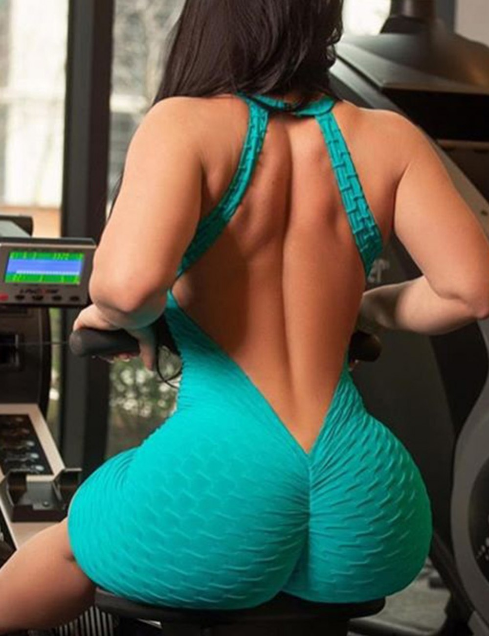 Fitness Sports Lift Butt Light Blue Jumpsuit Backless Outfit