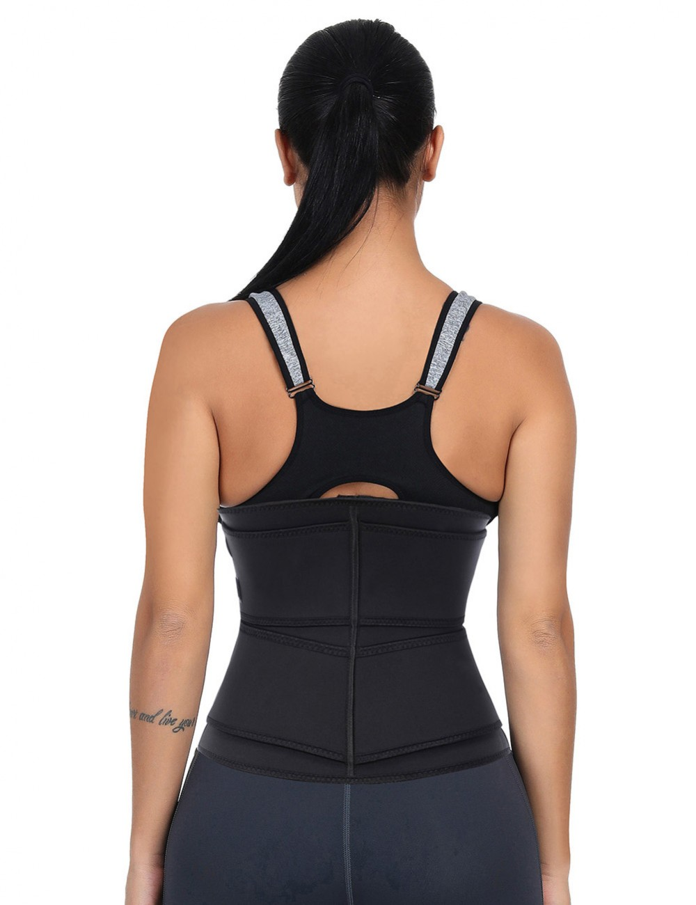 Double Belt Black Big Size Latex Waist Trainer For Loss Weight