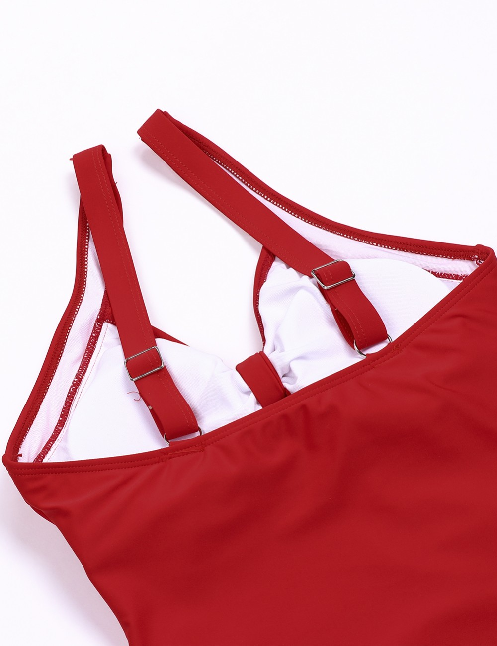 Red Keyhole One Piece Swimsuit With Bowknot For Beach Days