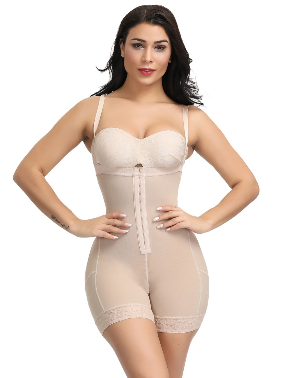 Full Body Shaper Plus Size Nude Plus Size Mid-Thigh Butt Lifting