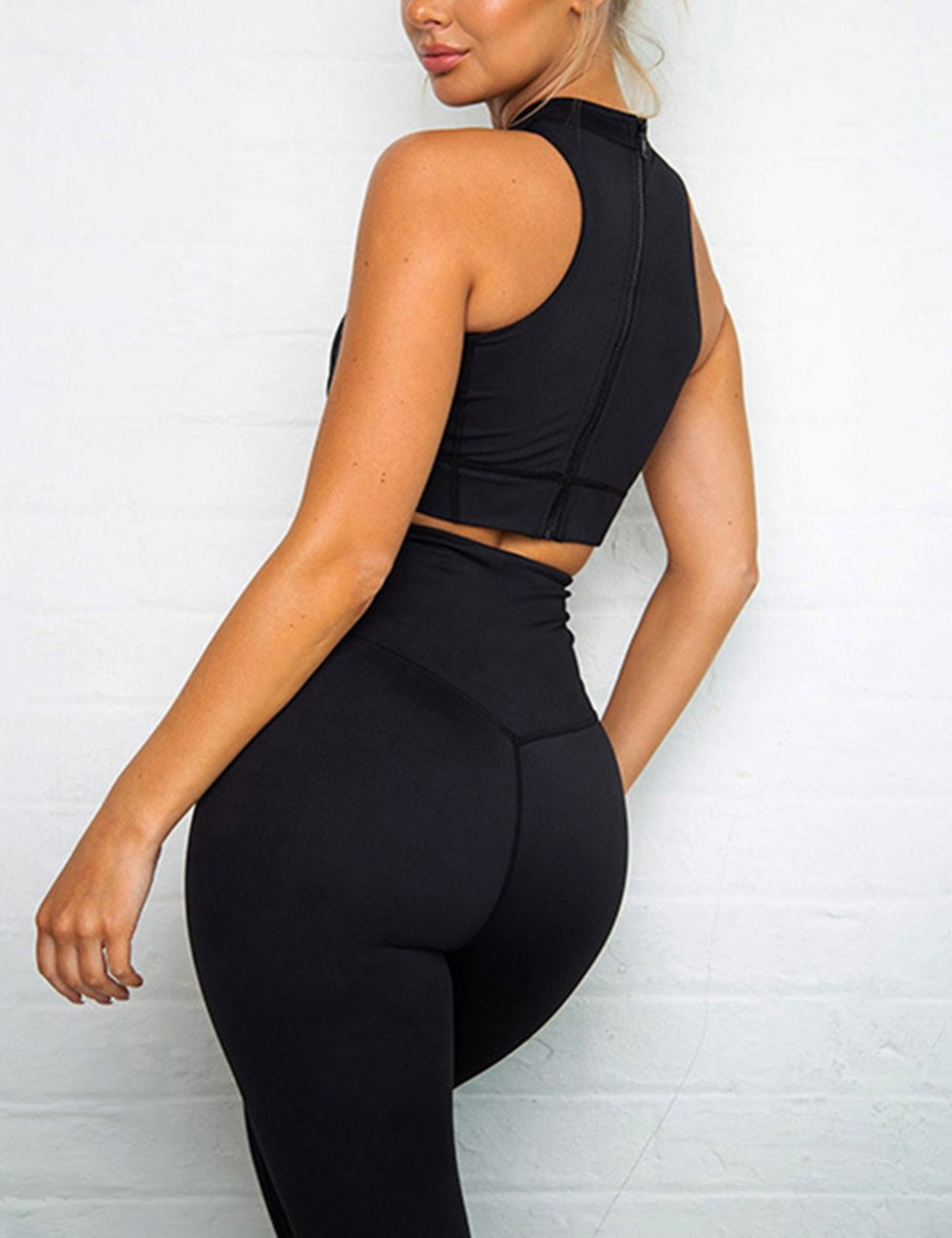 Quick Dry Black High Waisted Zipper Yoga Suit Wide Waistband Fashion