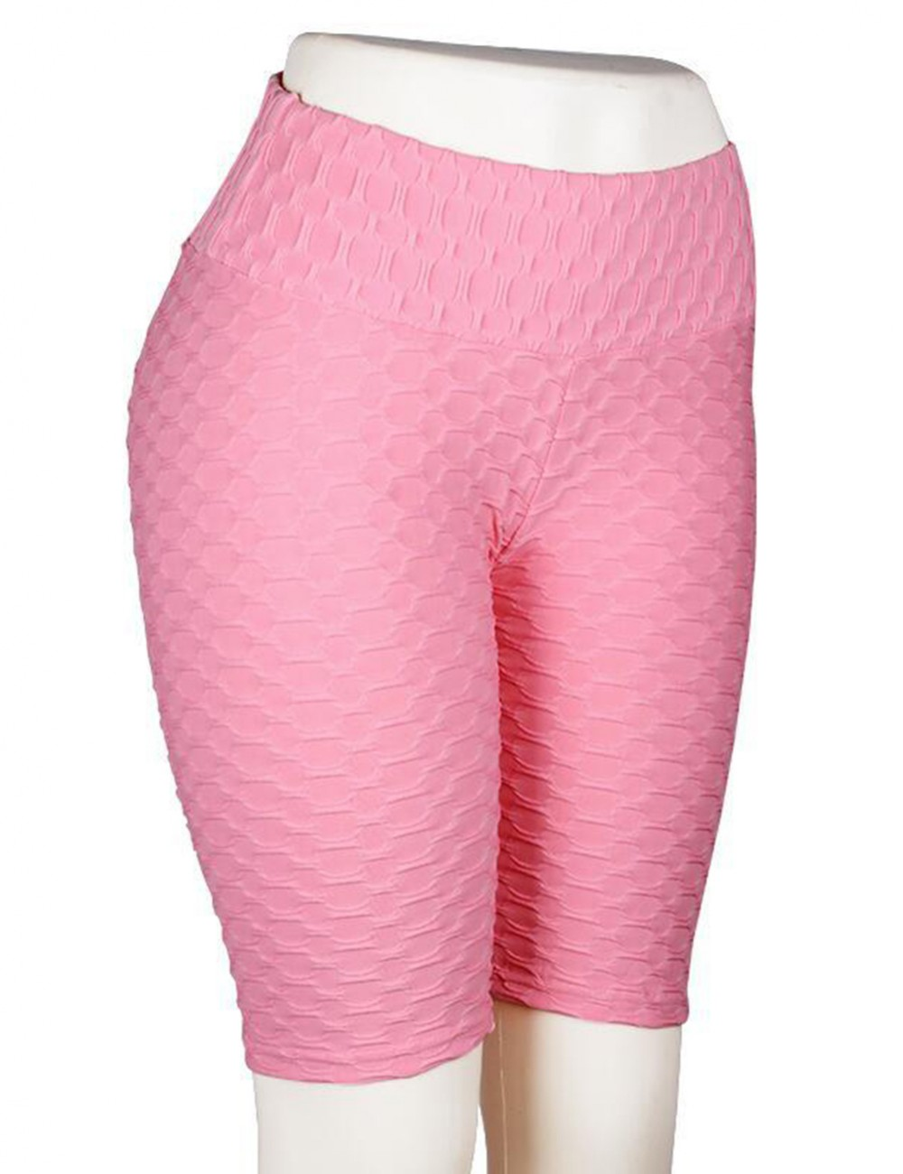 Fiercely Pink High Wasit Bike Gym Shorts Jacquard Weave High Quality