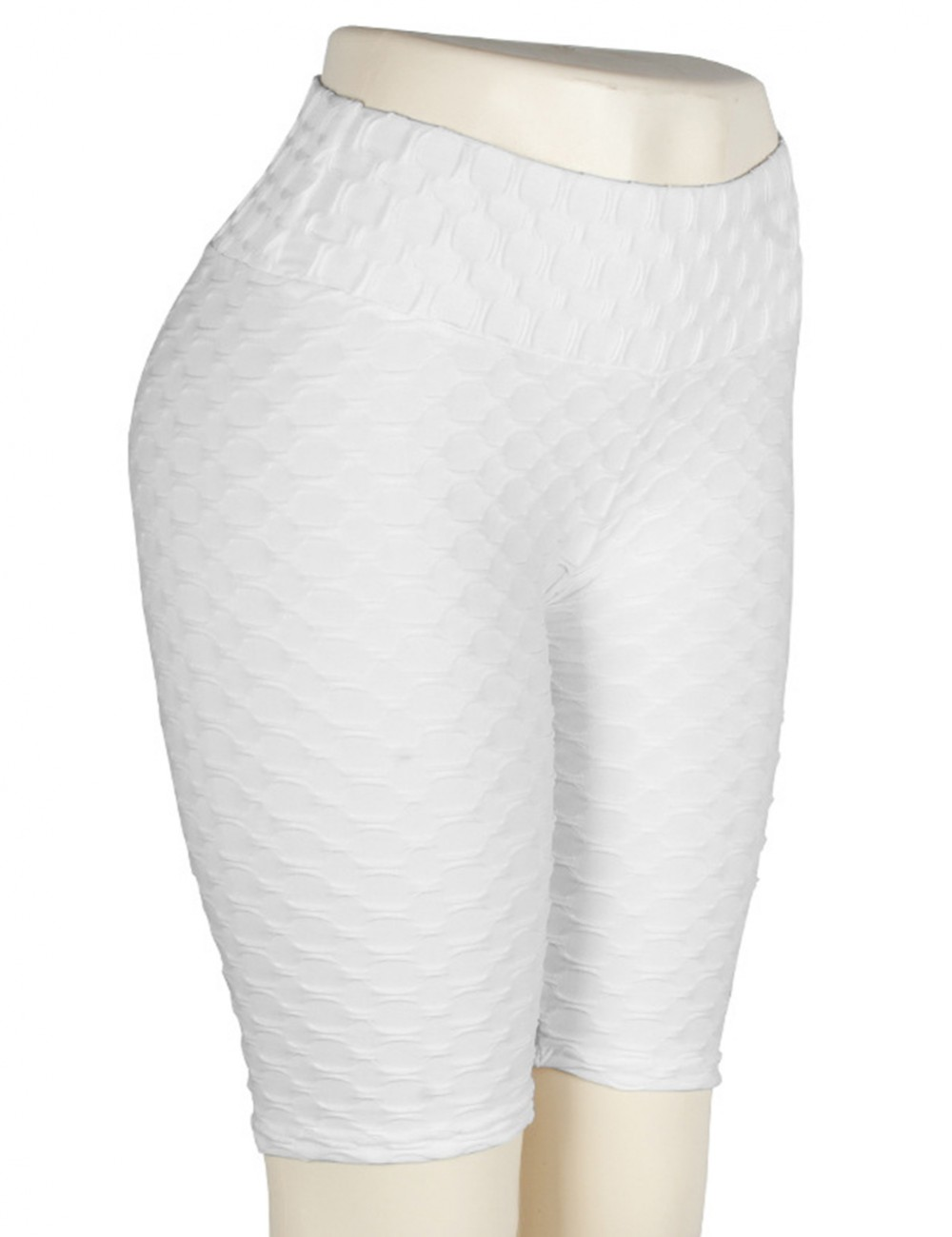 Ultra Cheap White Bike Gym Shorts Jacquard Tight Solid Color Exercise