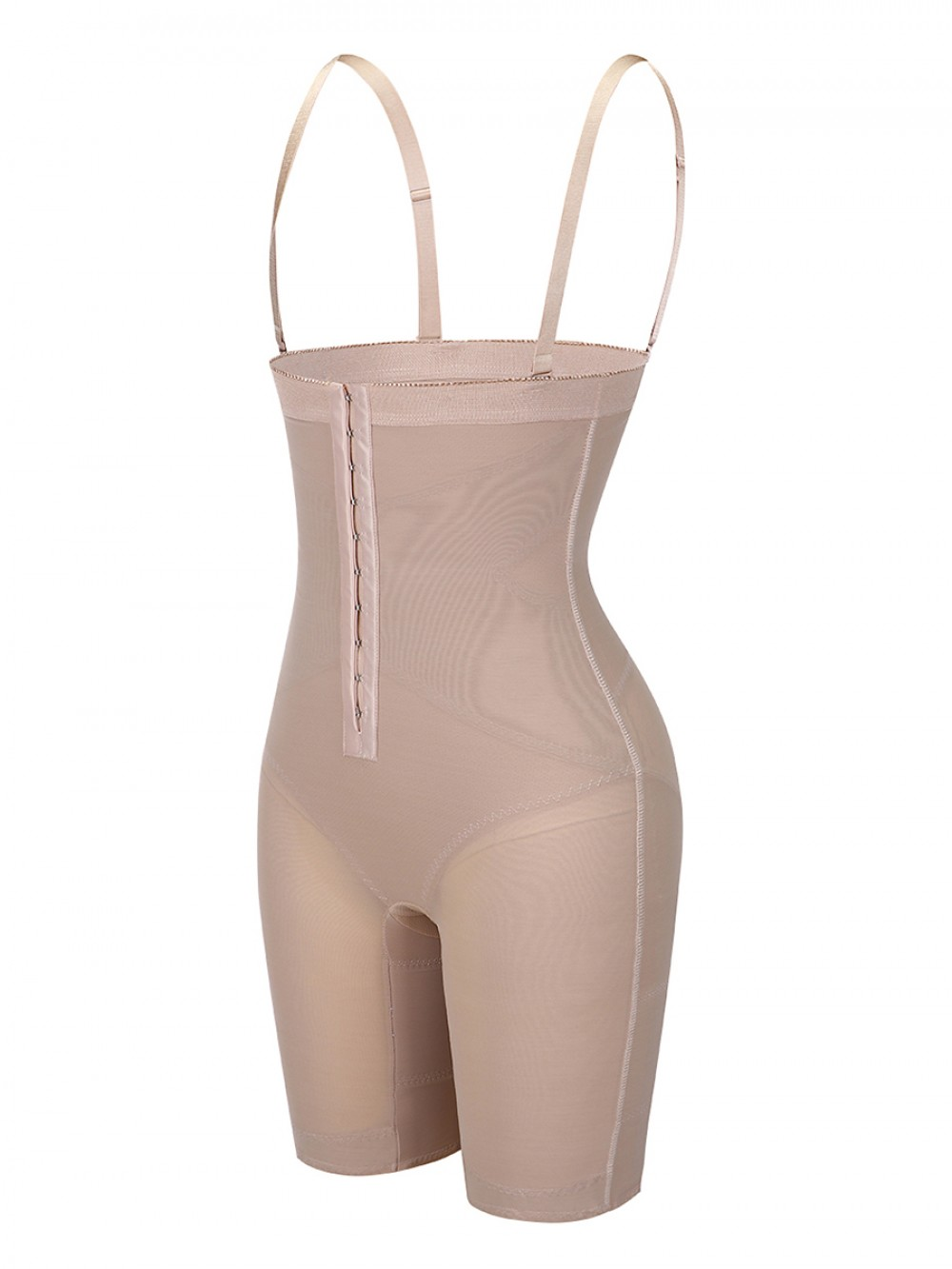 Skin Color Hook Detachable Straps Full Body Shaper Moderate Control