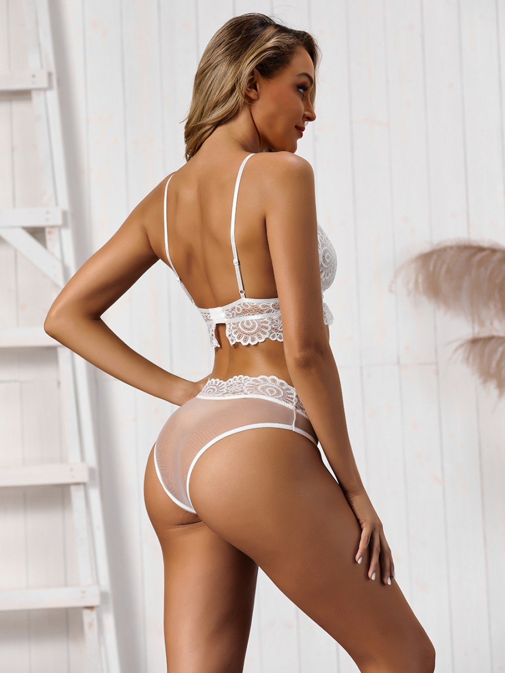 Flirtatious White Lace Hollow Out Triangle Cup Bralette Hot Lady