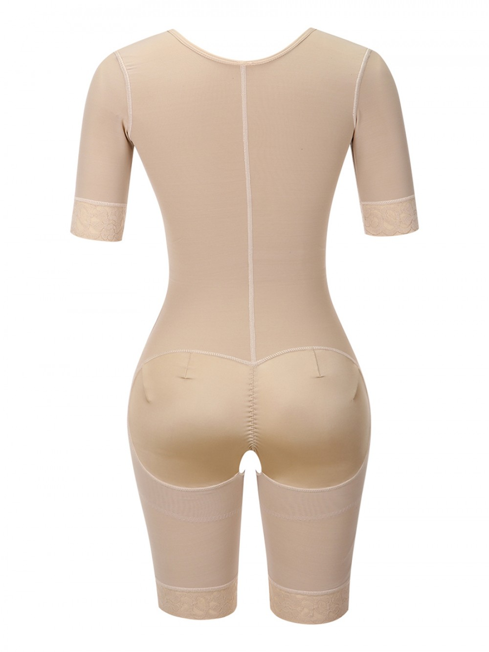Post Surgery Skin Color Lace Full Body Shaper Zipper Open Crotch Curve Shaping