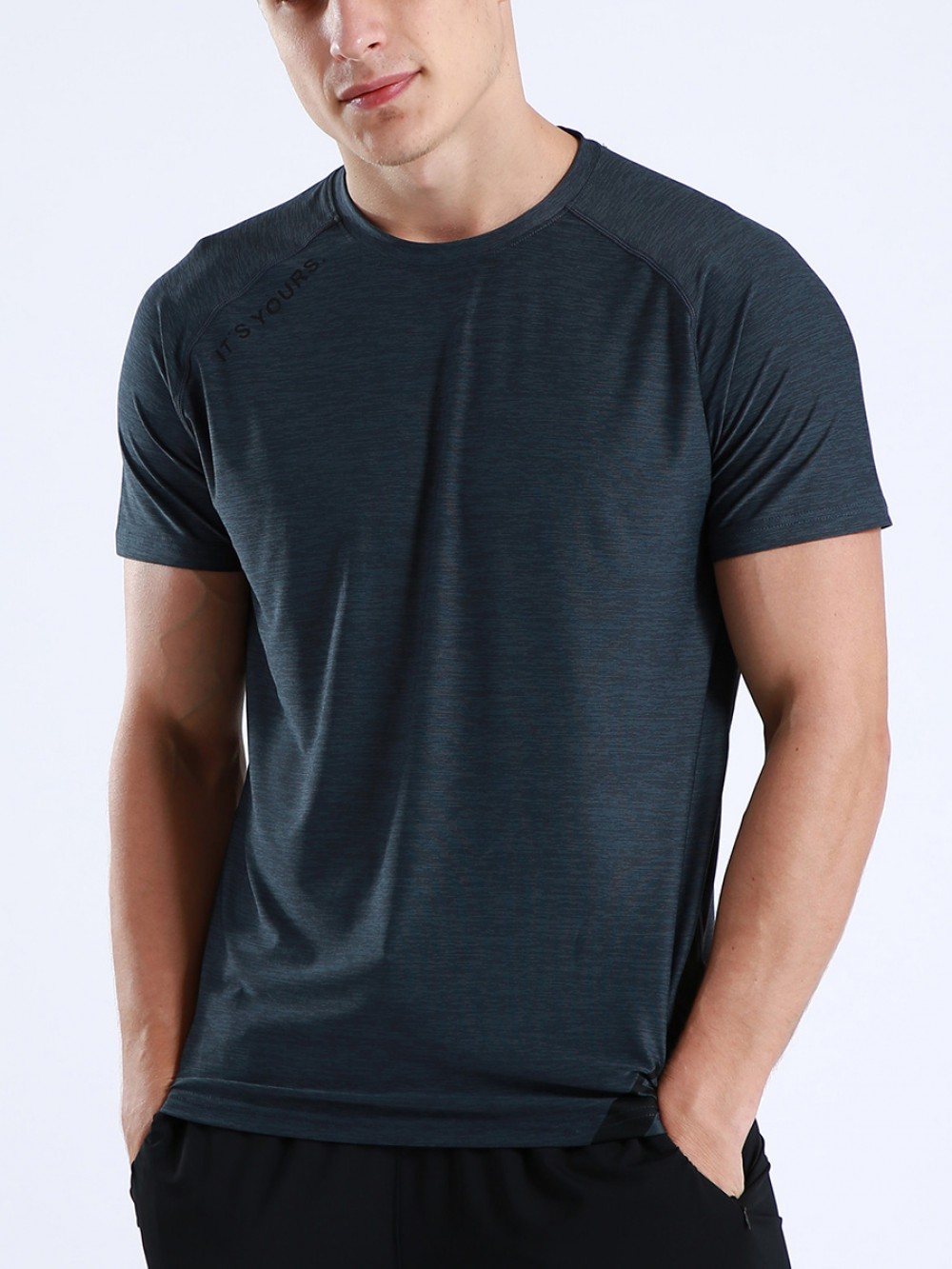 Comfortable Dark Gray Sports Top Short Sleeve Letter Paint For Boys