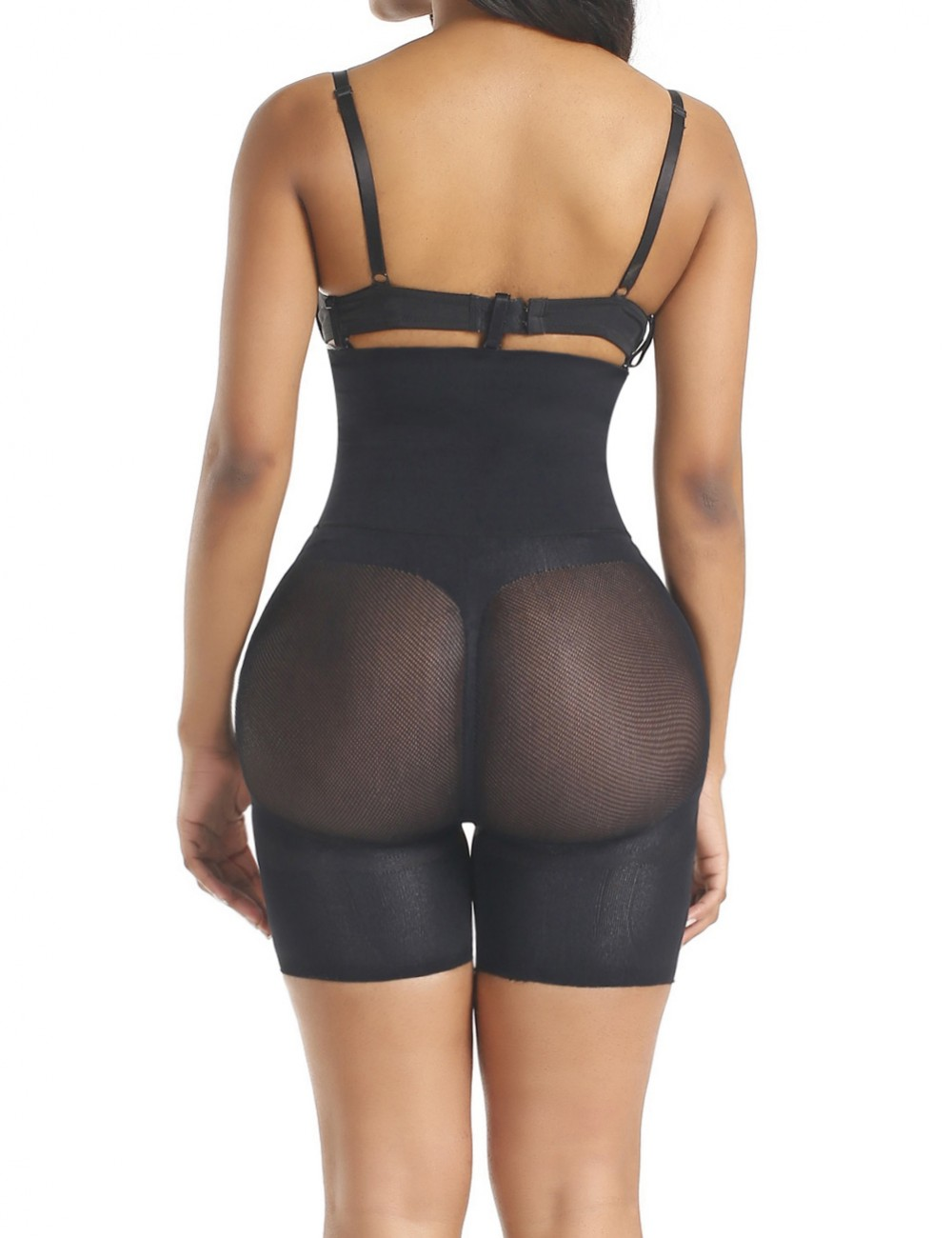 Black High Waist Seamless Butt Lifter Panty Midsection Control