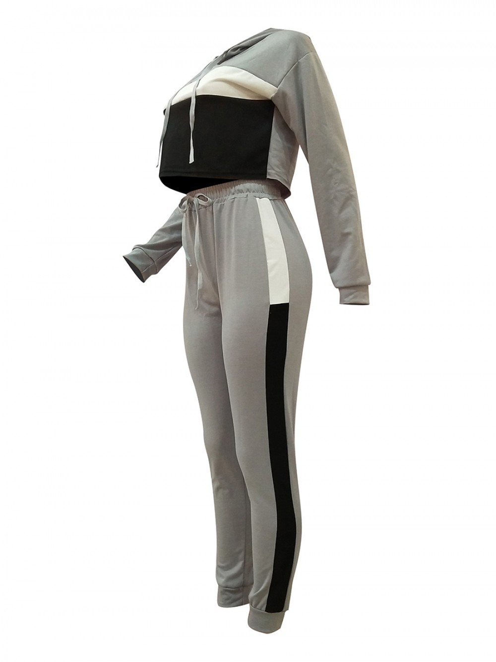 Slimming Gray Patchwork Crop Top High Rise Pants Athletic Apparel