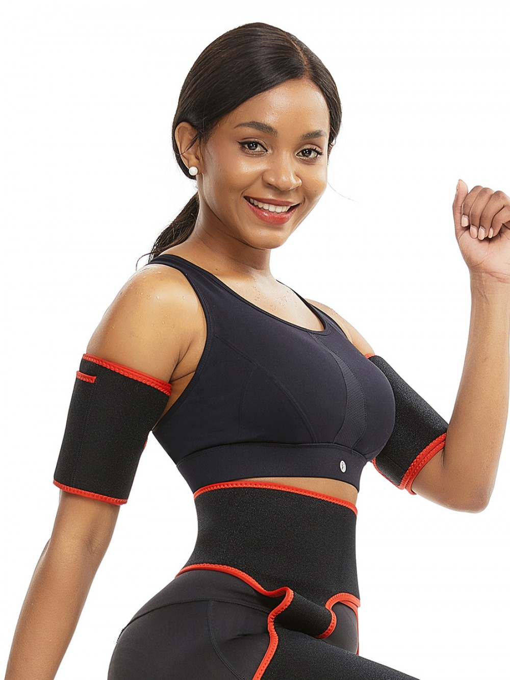 Arm Trimmers Red Neoprene 2 Pcs With Pockets Slimming Arm