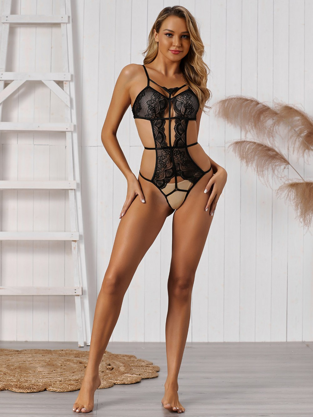 Inexpensive Black Hollow Out Teddy Adjustable Straps Slim Fit