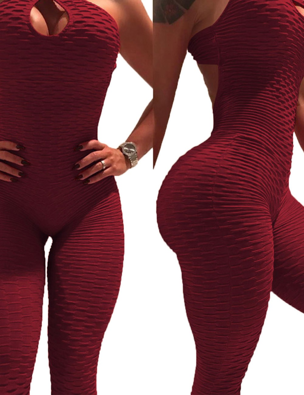 Sheerly Wine Red Backless Jacquard Sports Rompers Tight Fit