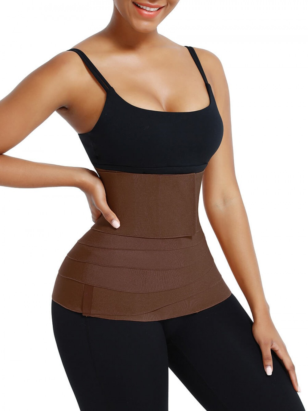 Brown Slimming Tummy Waist Control Wrap Body Shaper For Lose Weight