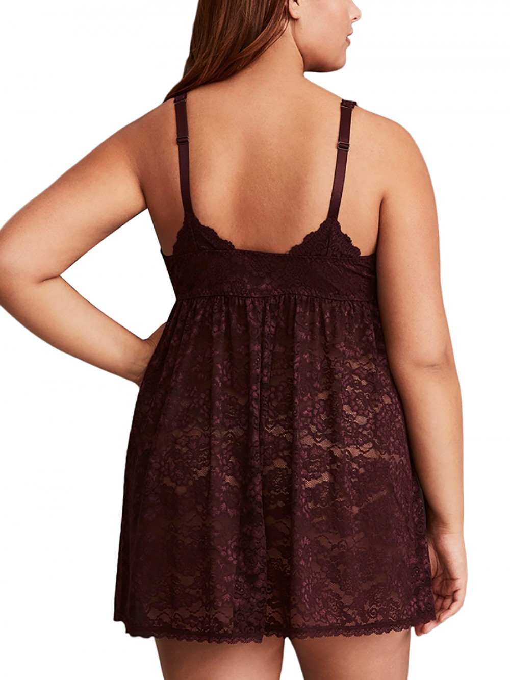 Plus Size Chic Brown Backless Babydoll No Sleeves Floral