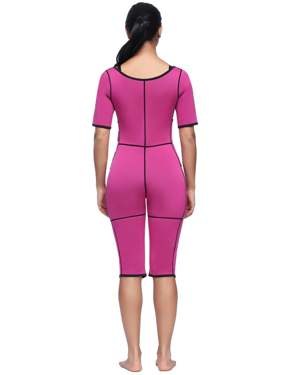 Power Conceal Rose Red Full Body Shaper Short Sleeve Potential Reduction