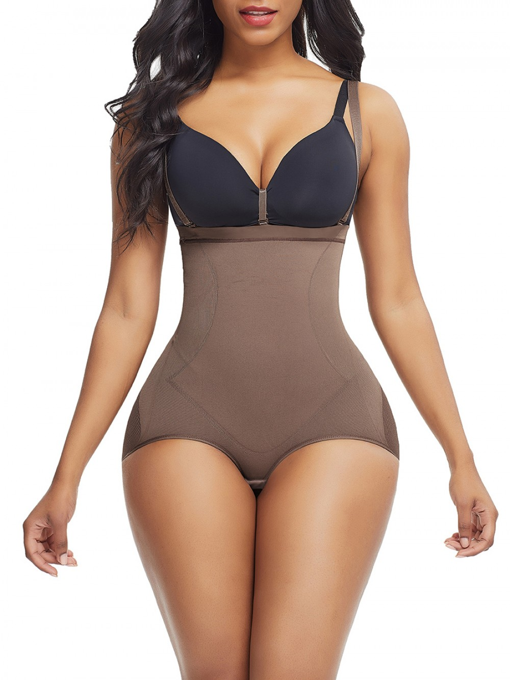 Light Brown Detachable Sling Seamless Shaper Mesh Lose Weight