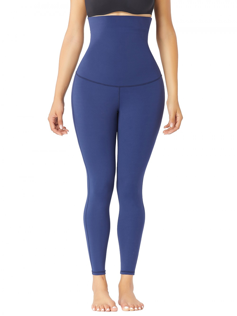 Dark Blue Doouble-Layer Body Shaper Ankle Length Abdominal Control