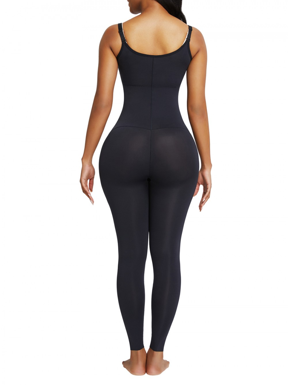 Black Full Body Shaper Open Bust Adjustable Straps Compression Silhouette